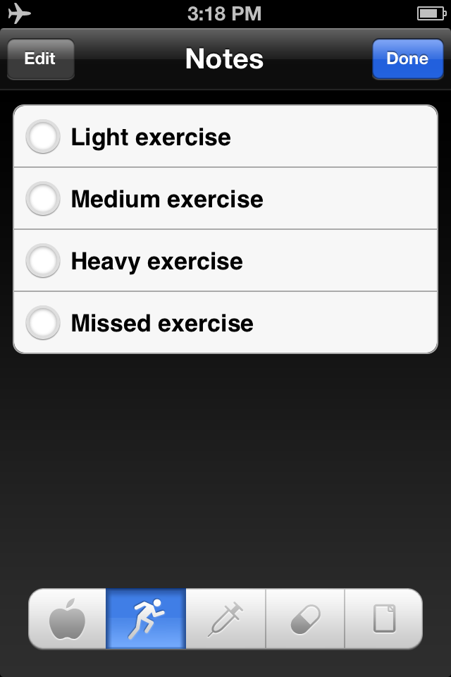 iBG*Star Diabetes Manager App - Notes on Exercise