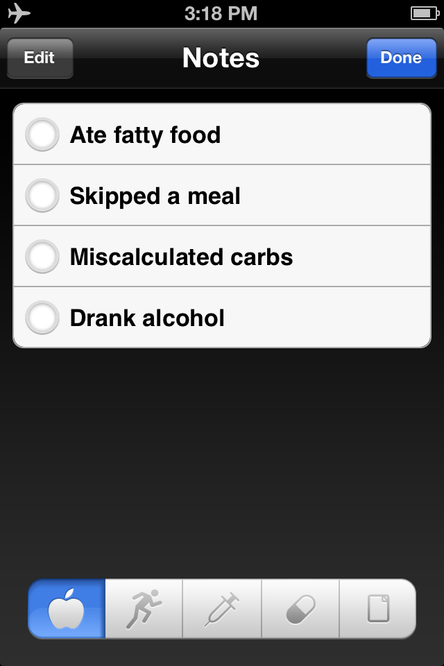 iBG*Star Diabetes Manager App - Notes on Food